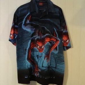 Spiderman button down shirt